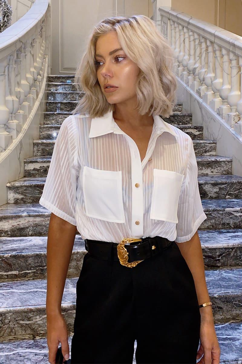 LAURA JADE WHITE 'HAYLEE' STRIPE SHIRT