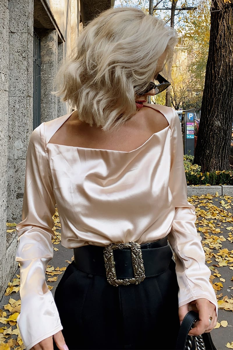 LAURA JADE CREAM 'VALENCIA' SATIN BLOUSE