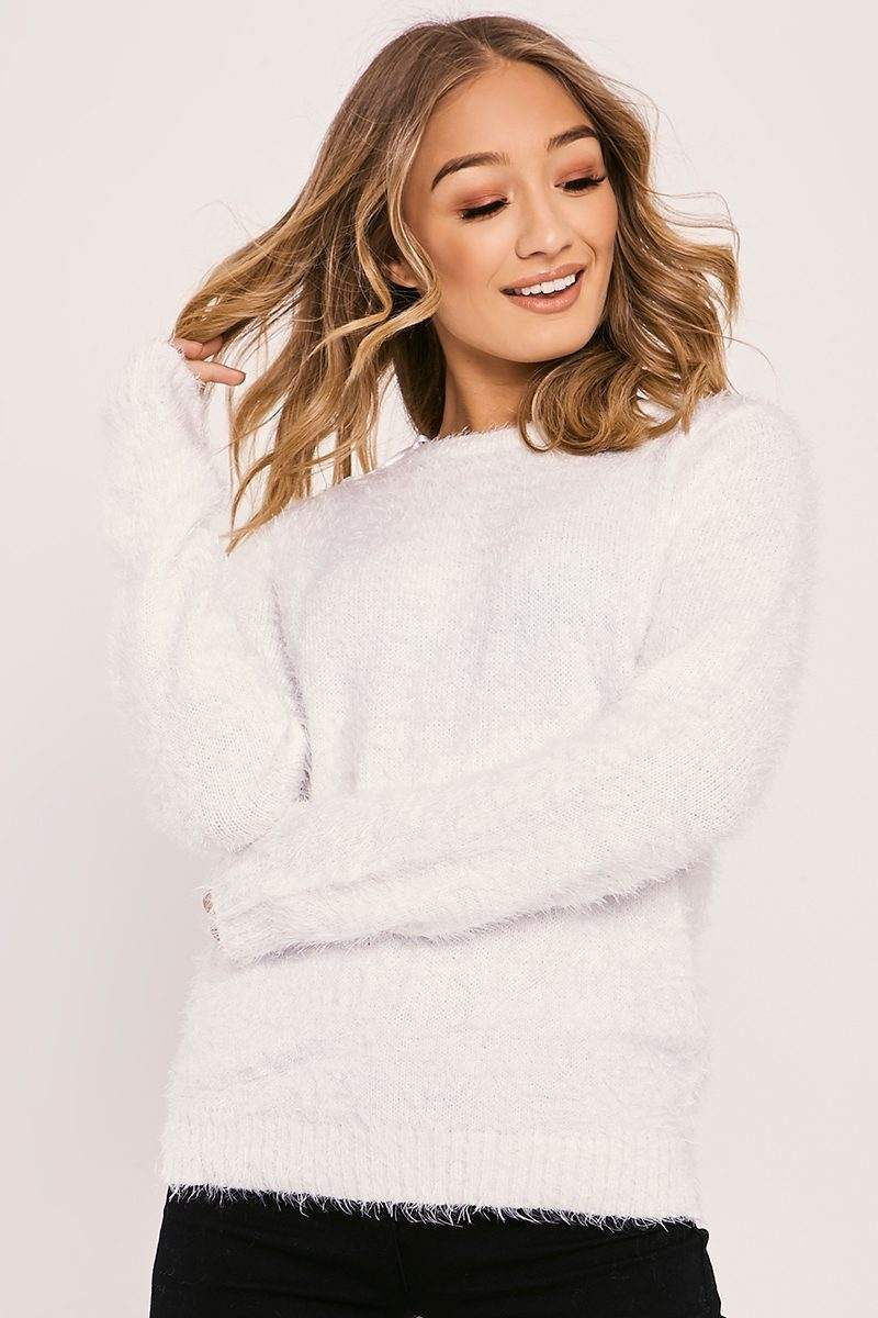 IMOGENE CREAM FLUFFY KNITTED JUMPER