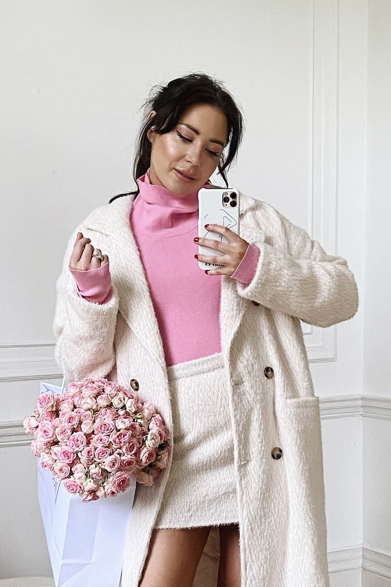 LORNA LUXE PINK 'SILHOUETTE' SLOUCH NECK LONG SLEEVE BODYSUIT