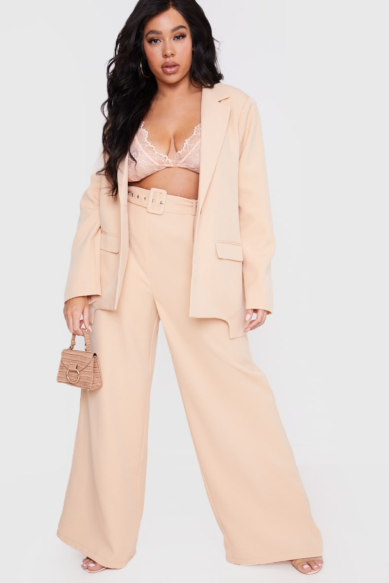 CURVE LORNA LUXE STONE  'SPENCER' HIGH WAISTED WIDE LEG TROUSERS