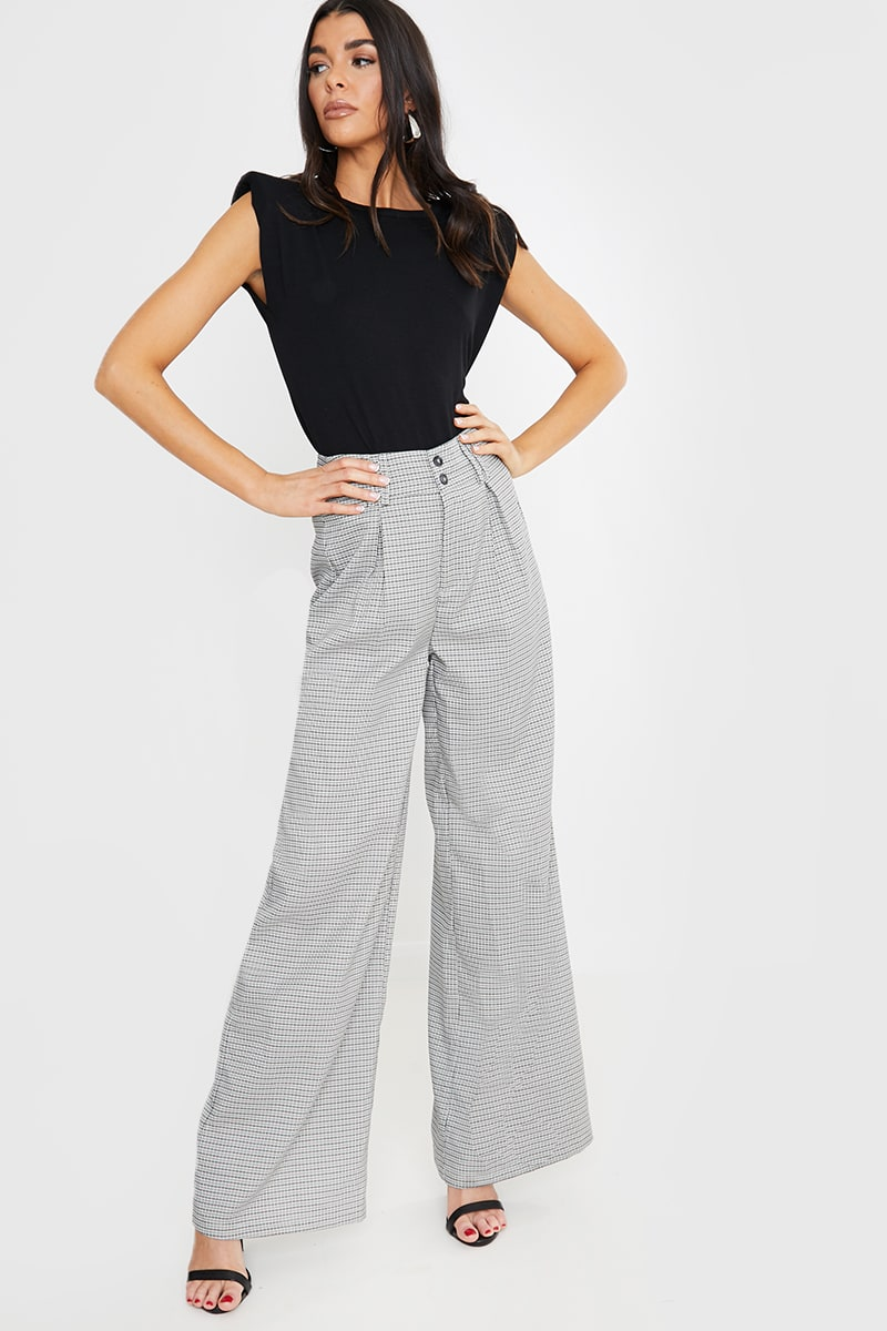 LORNA LUXE GREY 'MAYFAIR' CHECK WIDE LEG TROUSERS
