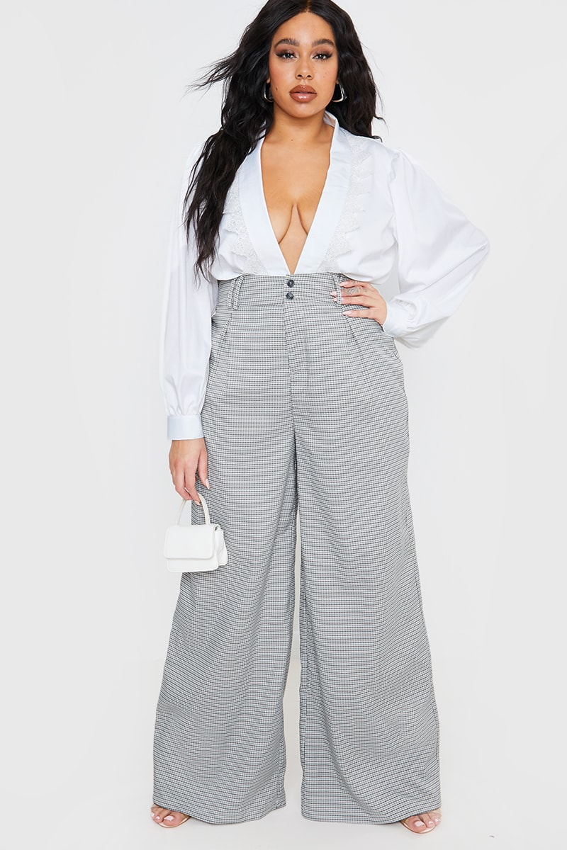CURVE LORNA LUXE GREY 'MAYFAIR' CHECK WIDE LEG TROUSERS