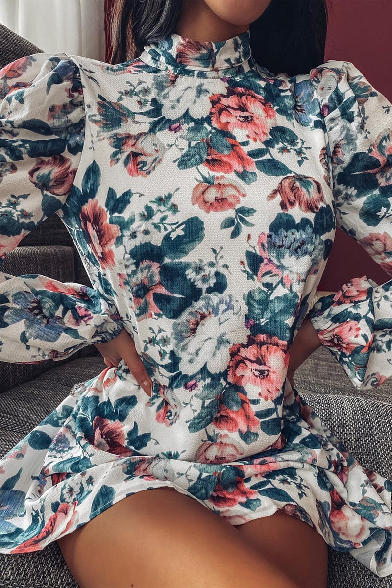 LORNA LUXE WHITE 'SHE'S THE ONE' ANTIQUE ROSE PRINT MINI DRESS