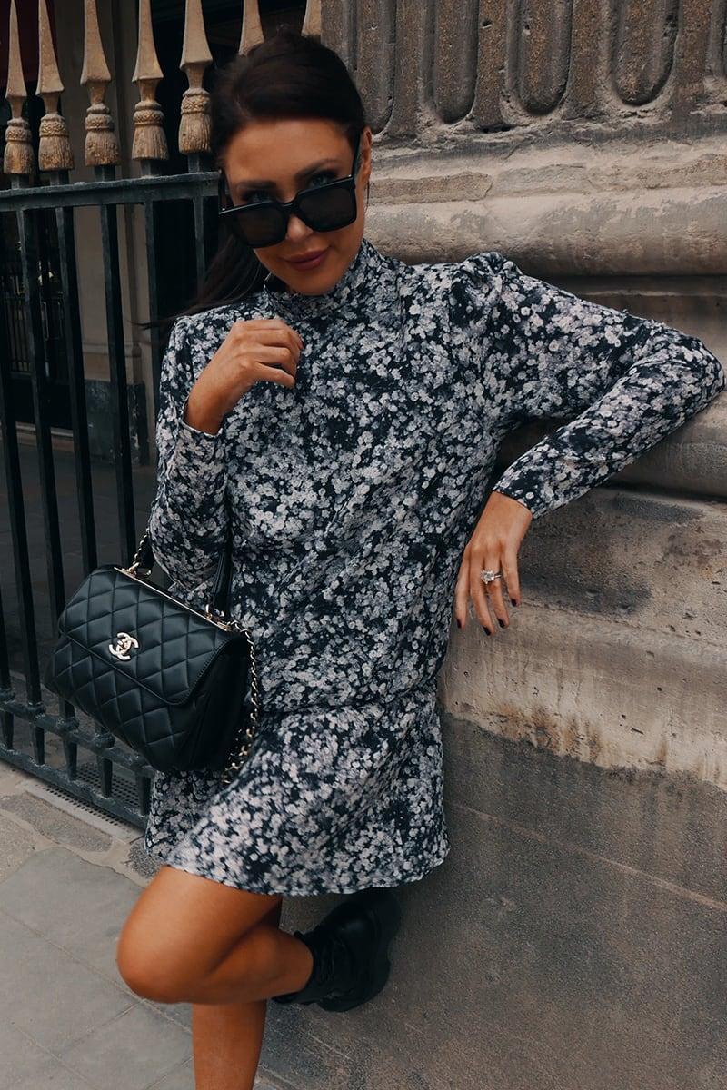 LORNA LUXE BLACK 'EMMA' SENSE AND SENSIBILITY PRINT MINI DRESS