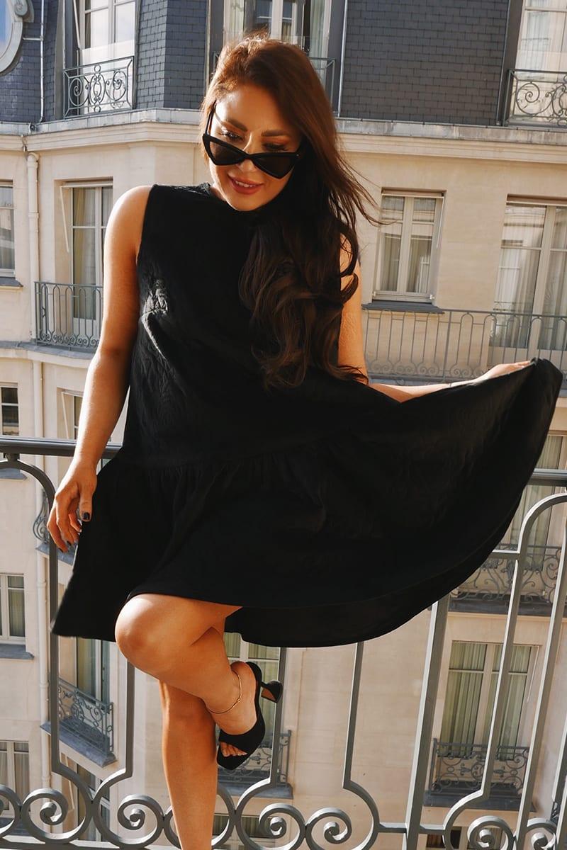 LORNA LUXE PREMIUM 'MISS JADE' BLACK QUILTED OVERSIZED PEPLEM TRAPEZE DRESS