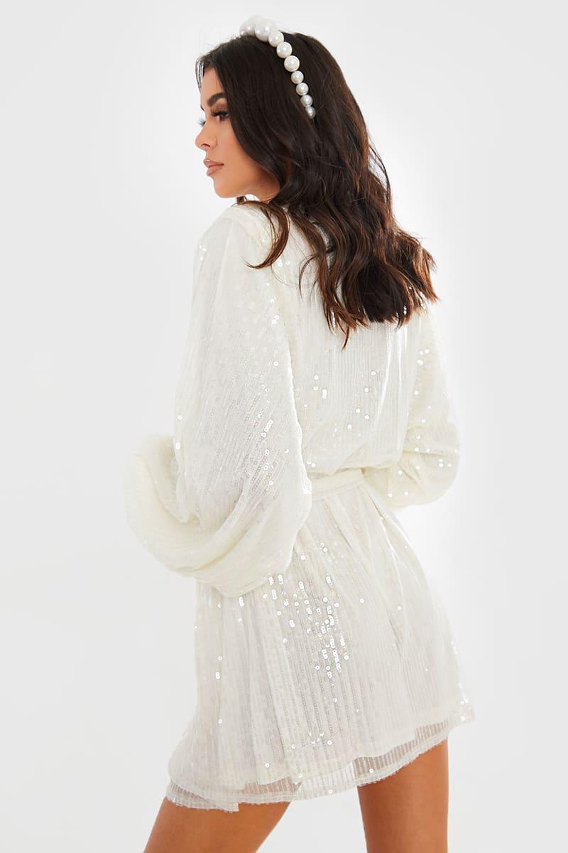 Lorna Luxe Premium 'emily' White Sequin Balloon Sleeve Tie