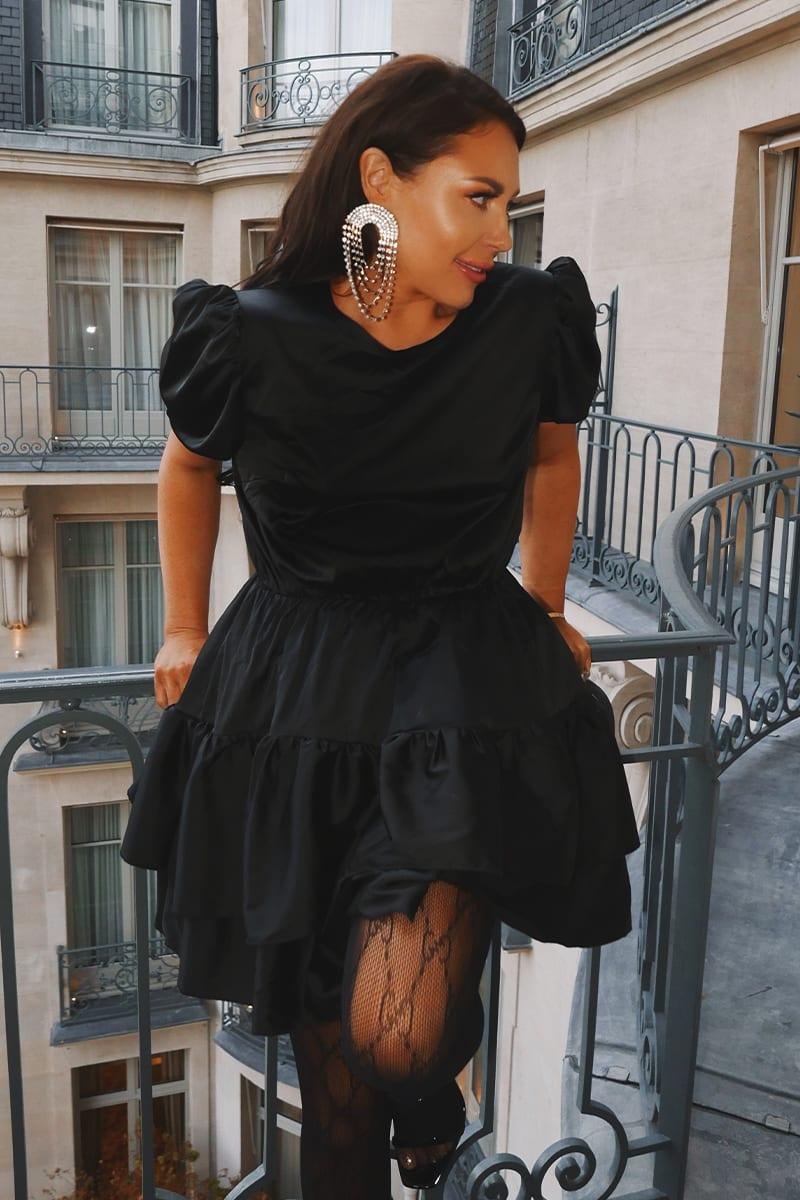LORNA LUXE PREMIUM 'JESSICA' BLACK SATIN LAYERED PUFF SLEEVE SKATER DRESS