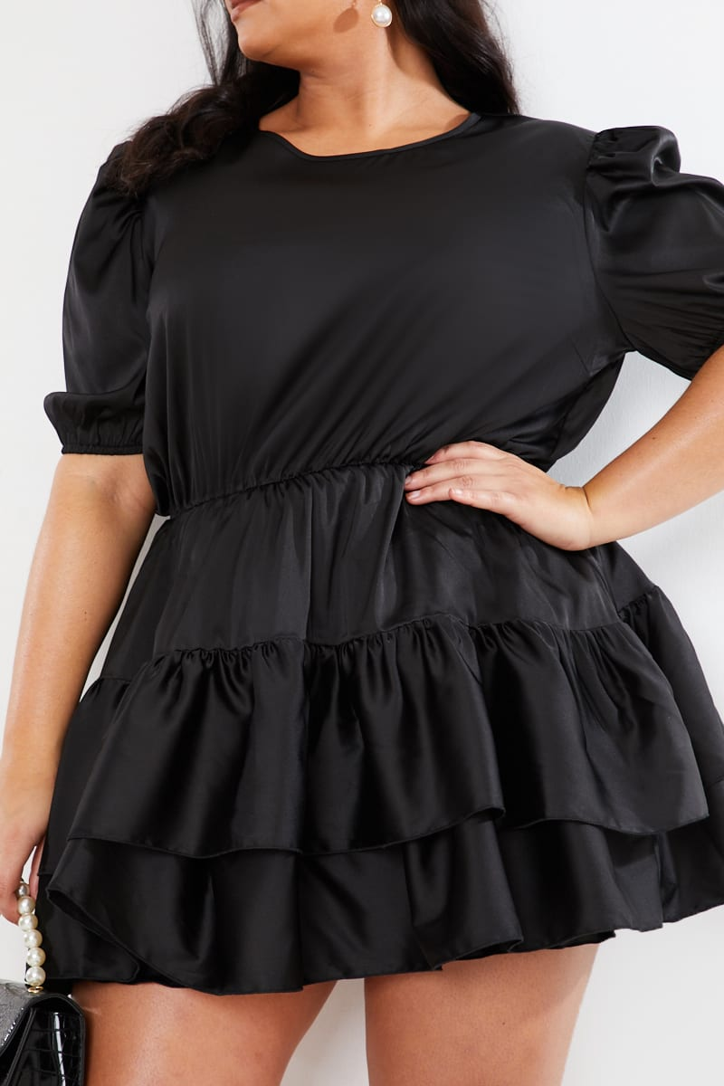 CURVE LORNA LUXE PREMIUM 'JESSICA' BLACK SATIN LAYERED PUFF SLEEVE SKATER DRESS