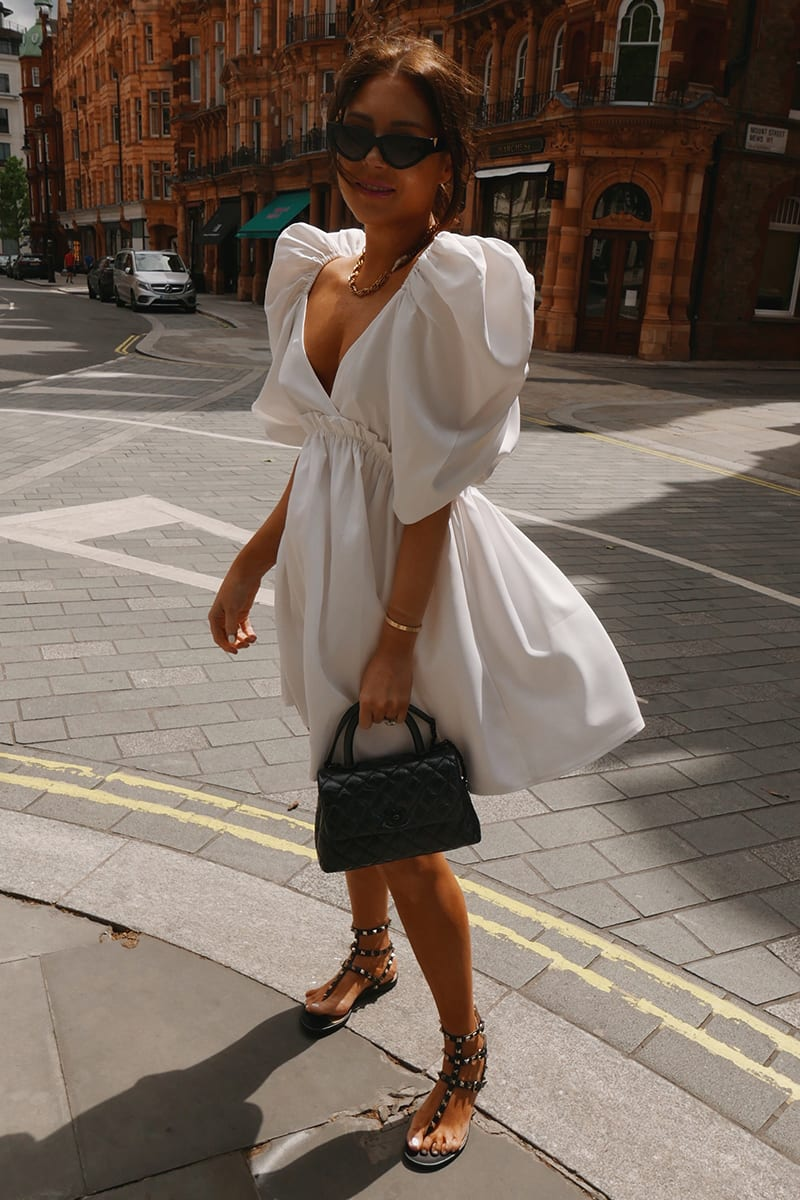 LORNA LUXE WHITE 'ARIA' EXAGGERATED PUFF SLEEVE BABYDOLL DRESS