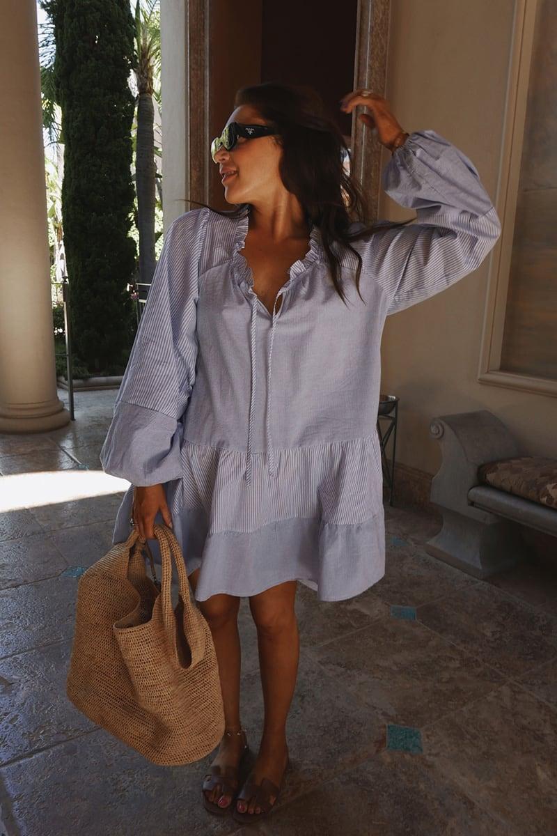LORNA LUXE BLUE 'AVERY' CONTRAST STRIPE TIERED DAY DRESS