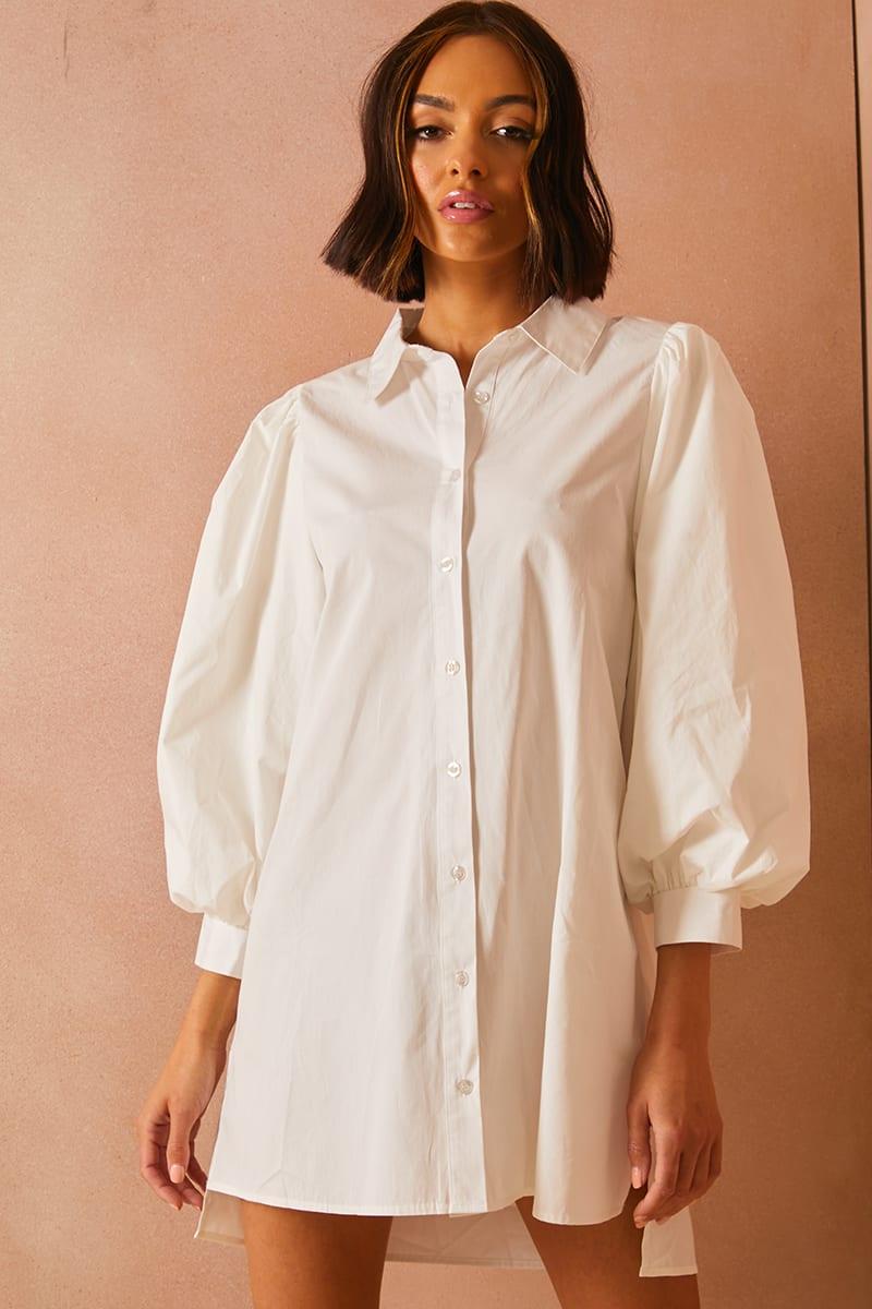 LORNA LUXE WHITE 'SAVOIR' POPLIN EXAGGERATED SLEEVE SHIRT DRESS