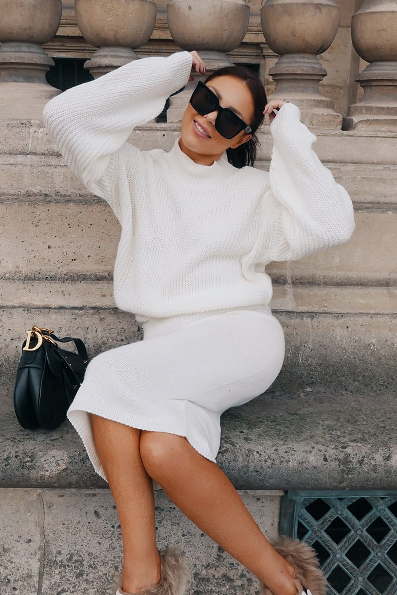 LORNA LUXE CREAM 'ISOLDE' KNIT CO-ORD SKIRT