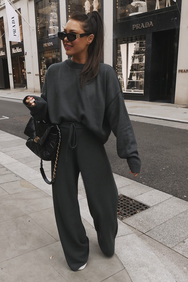 LORNA LUXE GREY 'LOLA' KNITTED CO-ORD JUMPER