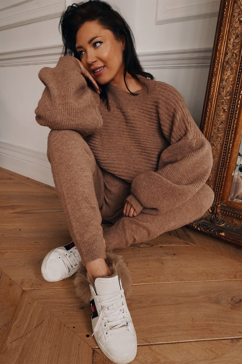 LORNA LUXE BROWN 'DAPHNE' RECLAIMED KNITTED JOGGER