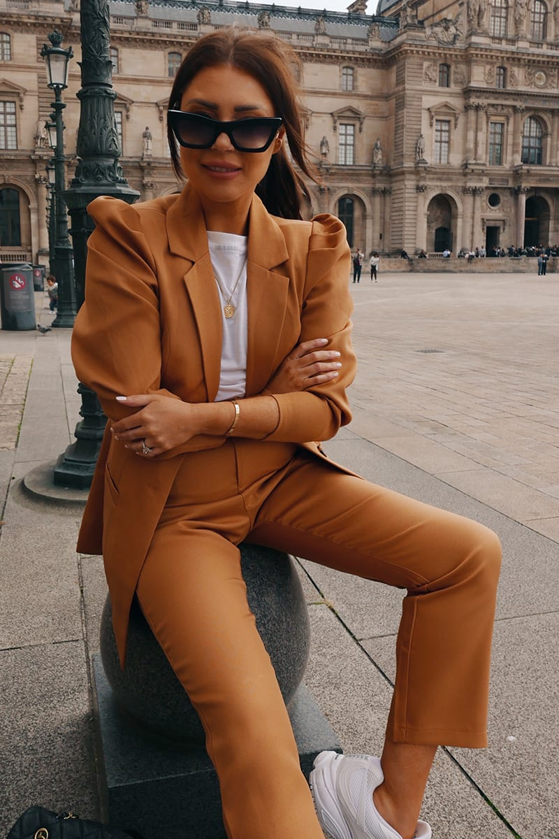 LORNA LUXE BURNT TOFFEE 'BIANCA' VOLUME SLEEVE BLAZER