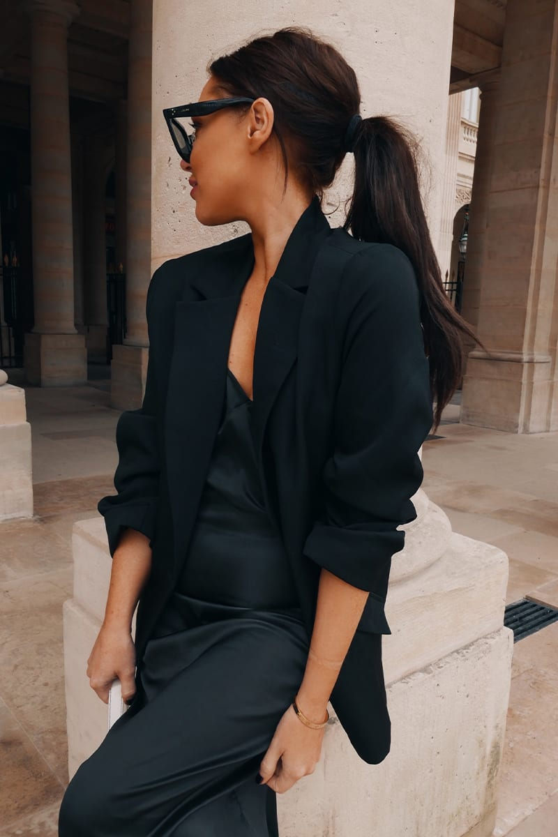 LORNA LUXE BLACK 'MIDNIGHT IN PARIS' OVERSIZED BLAZER