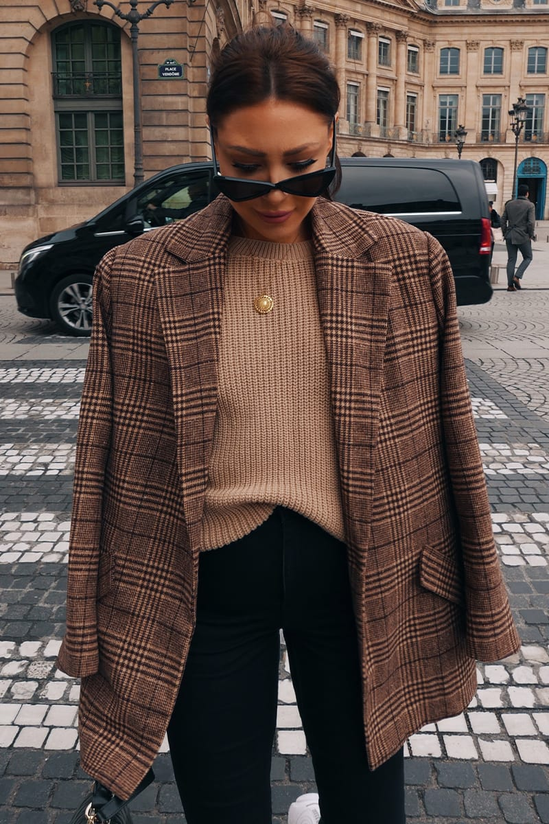 LORNA LUXE BROWN CHECK 'BONNIE & CLYDE' CO-ORD BLAZER