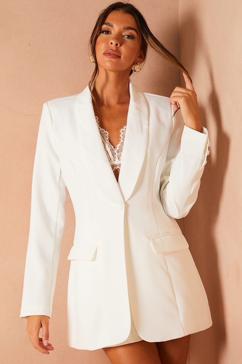 LORNA LUXE WHITE 'WORKING GIRL' BLAZER | In The Style (UK)