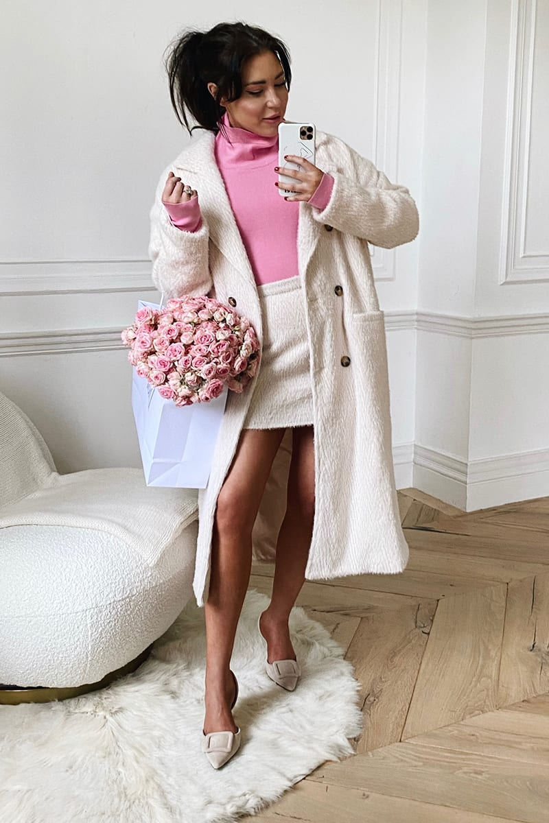 LORNA LUXE OATMEAL 'ELIZABETH' BORROWED HIS FIT DOUBLE BREASTED COAT