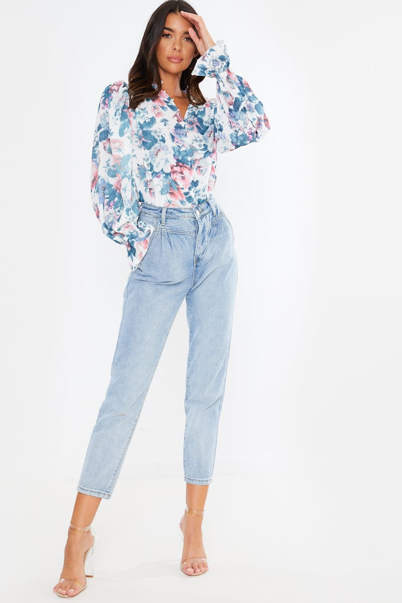 LORNA LUXE WHITE 'ALWAYS ON TIME' ANTIQUE ROSE BLOUSE
