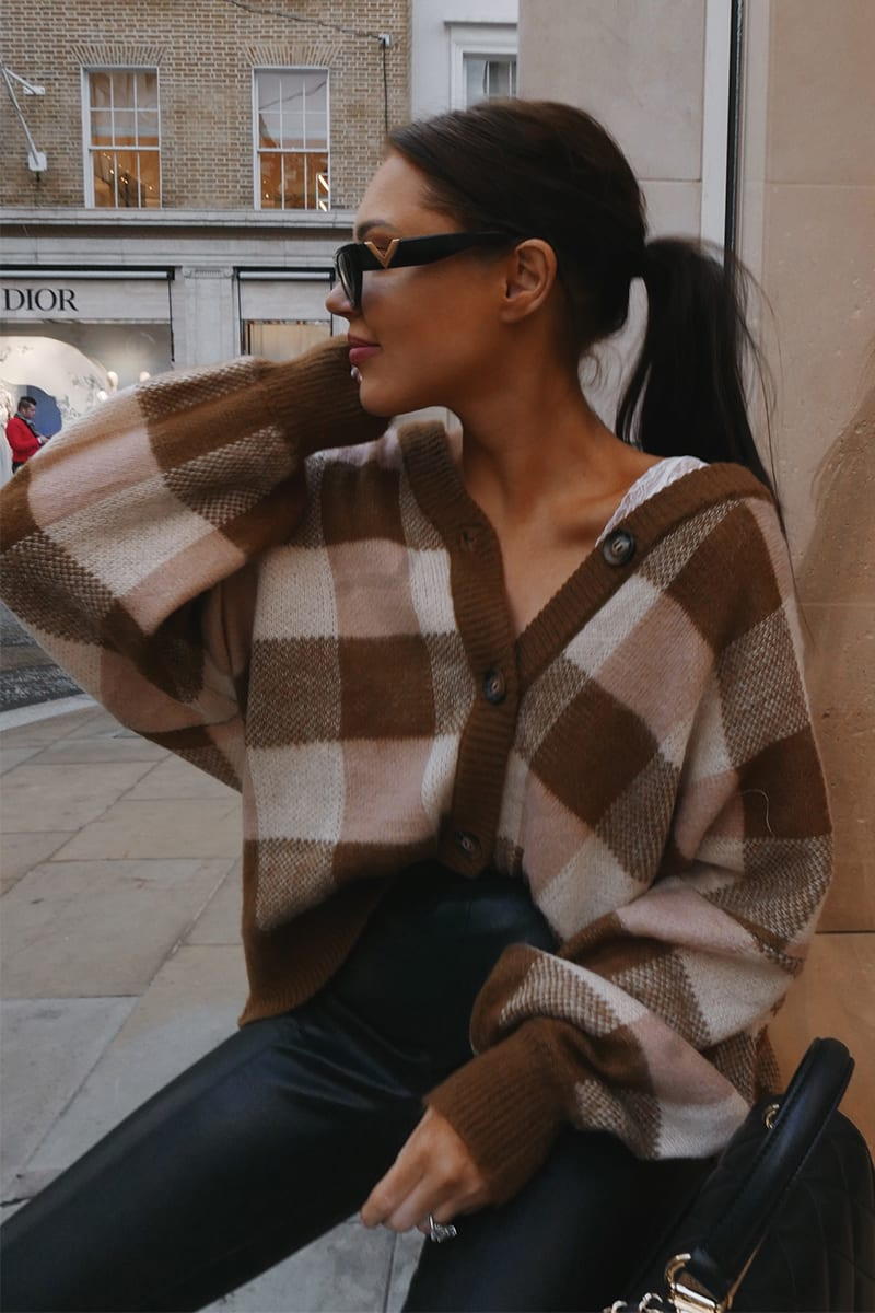 LORNA LUXE BROWN 'BALMORAL' BRUSHED COLOUR BLOCK OVERSIZED FIT CARDIGAN