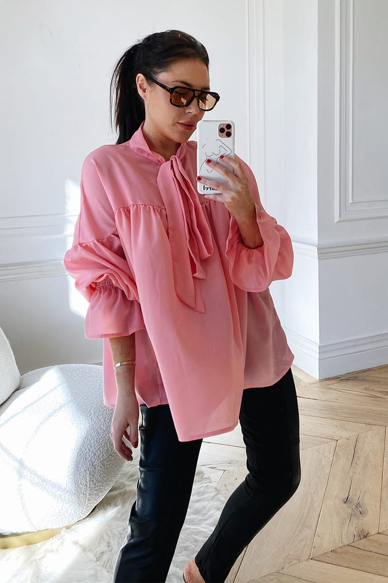 LORNA LUXE PINK 'SERENA' PUSSY BOW BLOUSE