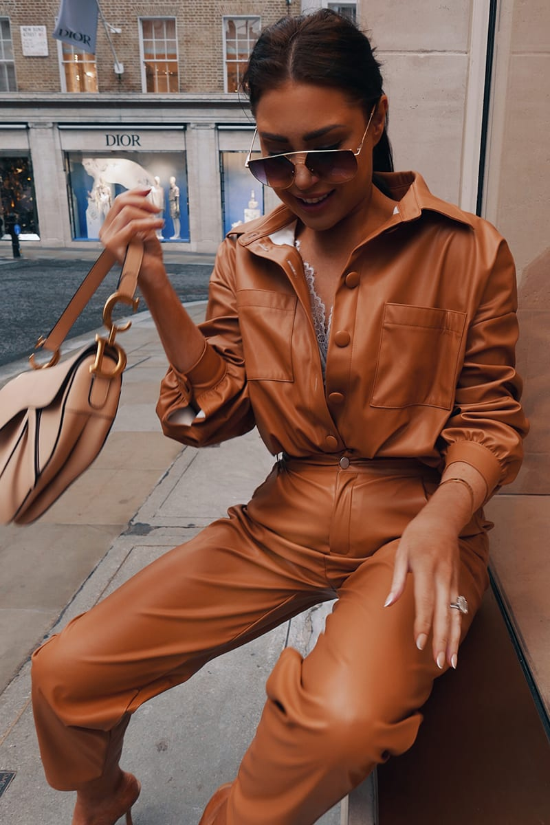 LORNA LUXE TAN  'KENSINGTON' OVERSIZED LEATHER LOOK SHIRT