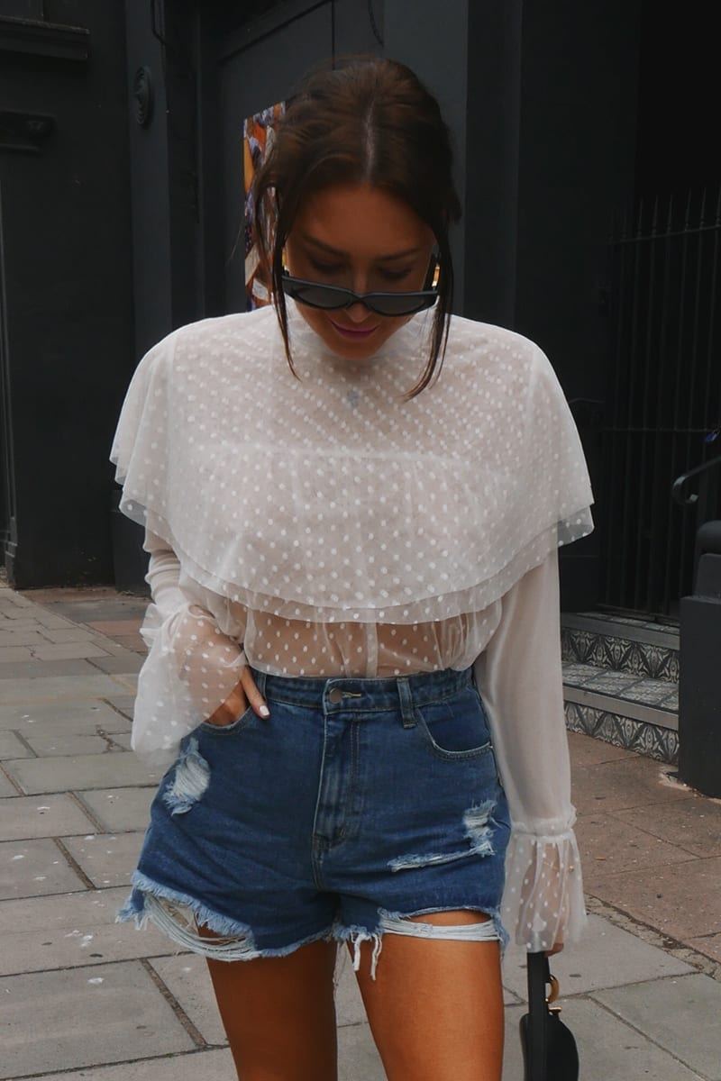 LORNA LUXE WHITE 'HERMIONE' POLKA DOT FRILL BLOUSE