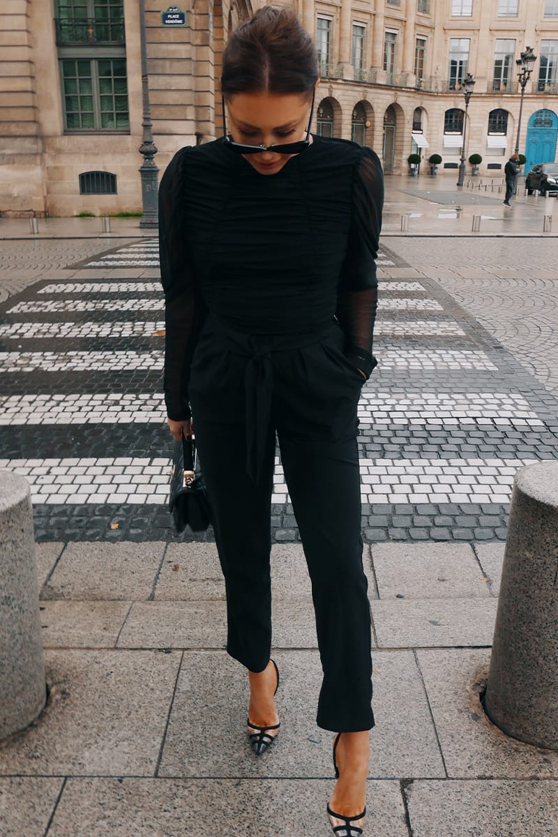 LORNA LUXE BLACK 'TRULY' TAPERED LEG TROUSERS