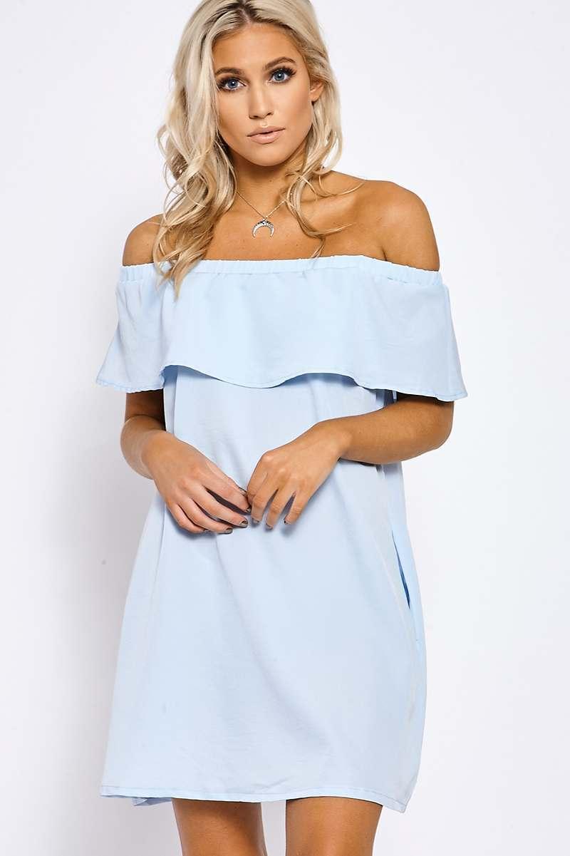 REESE POWDER BLUE BARDOT FRILL DRESS