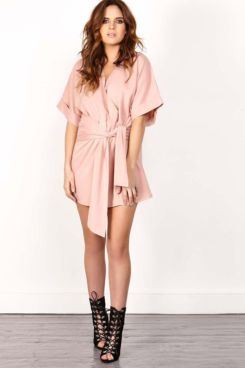 BINKY ROSE TIE FRONT KIMONO SLEEVE MINI DRESS