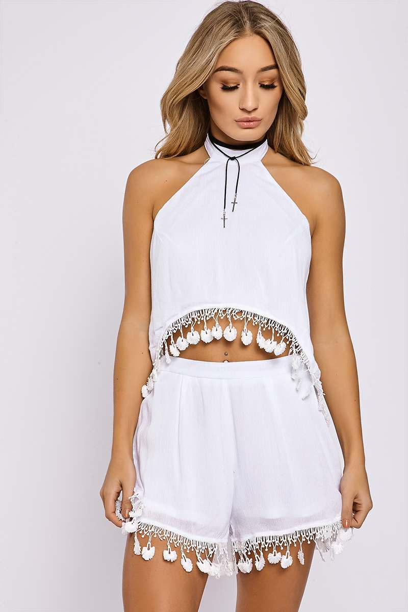 white crochet tassel high neck co-ord