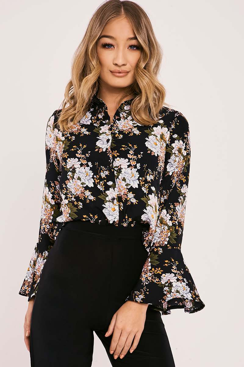 black floral flared sleeve cropped shirt