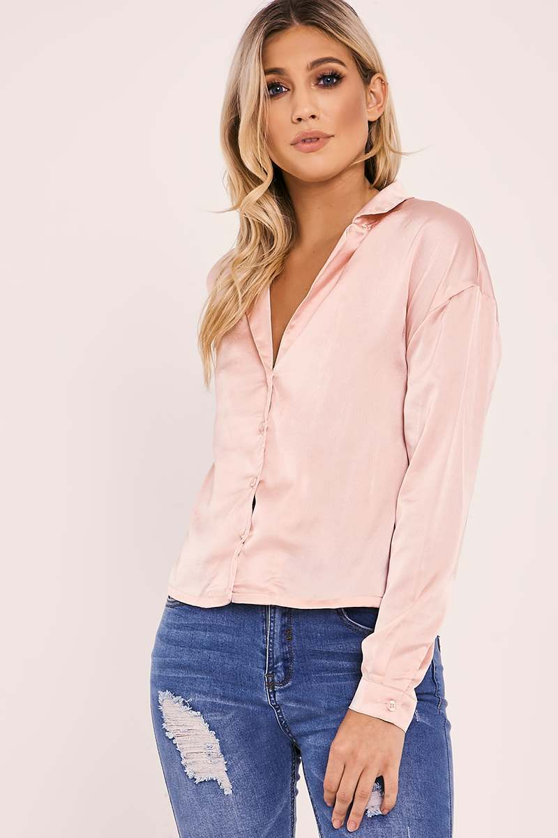 MONIA NUDE SATIN SHIRT