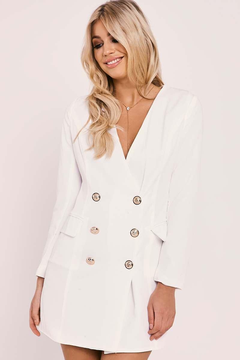 white gold buttoned blazer dress