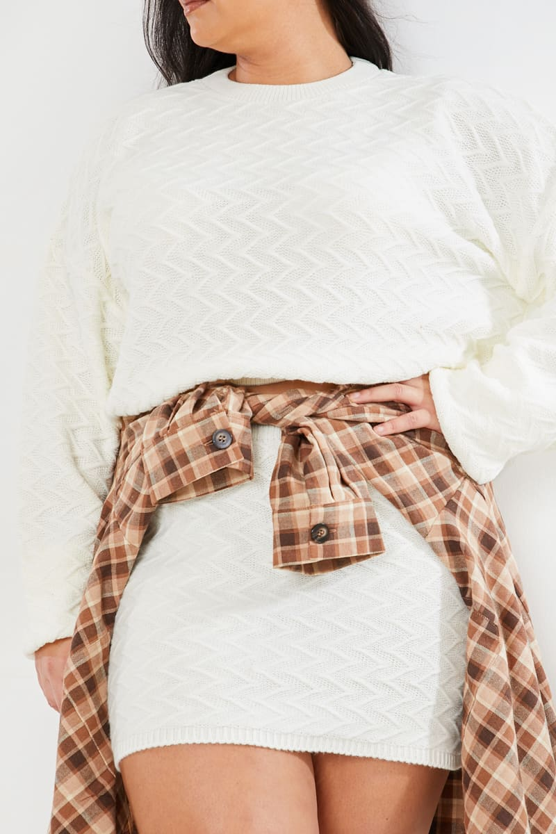 CURVE LOTTIE TOMLINSON CREAM QUILTED KNITTED MINI SKIRT