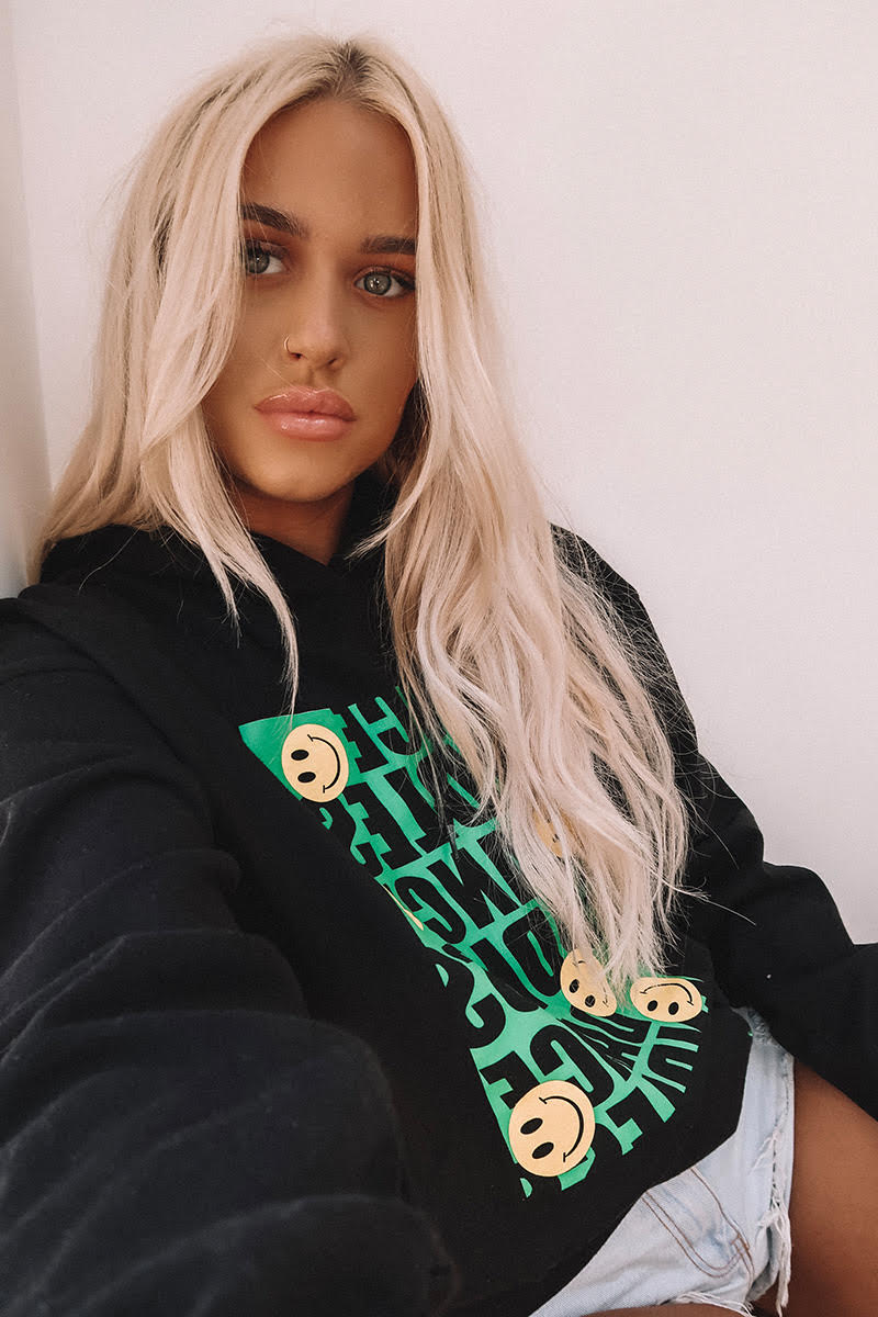 LOTTIE TOMLINSON BLACK ENDLESS DANCE SLOGAN PRINT OVERSIZED HOODIE