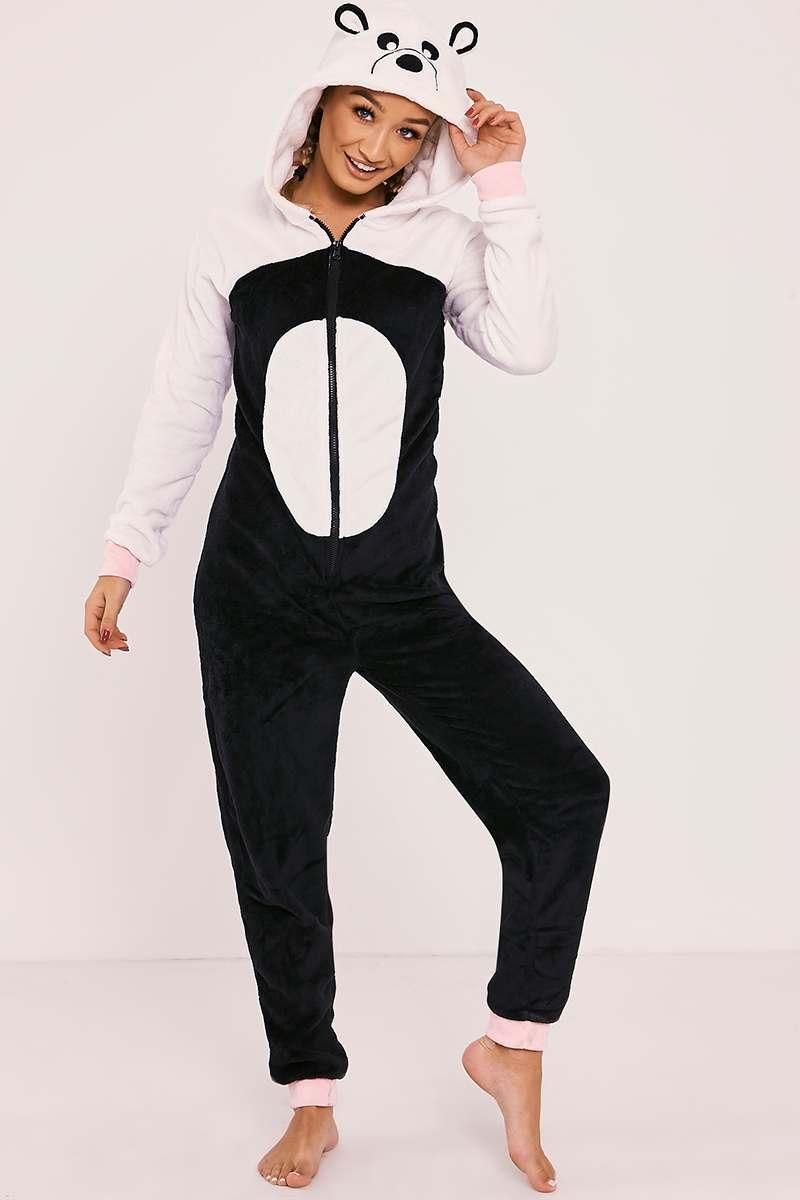 fluffy black and white onesie