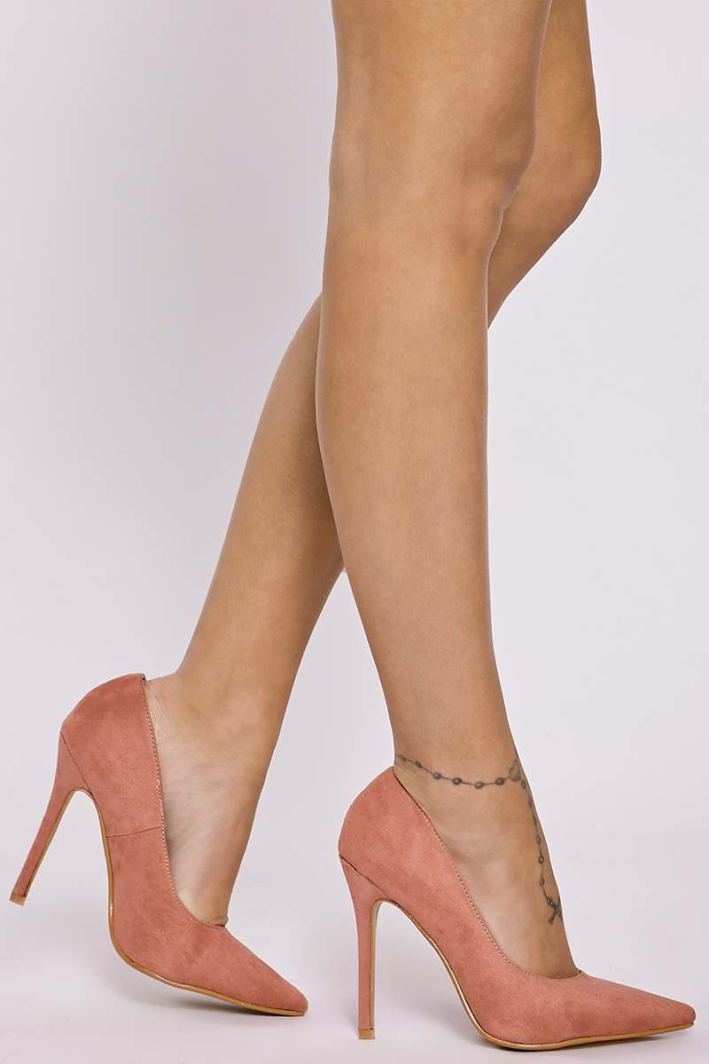 rose faux suede court shoes