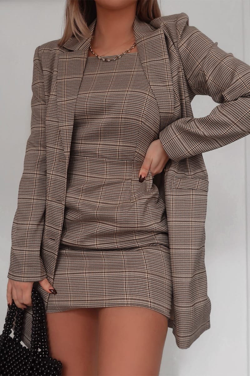 FASHION INFLUX BROWN HERITAGE CHECK SQUARE NECK MINI DRESS