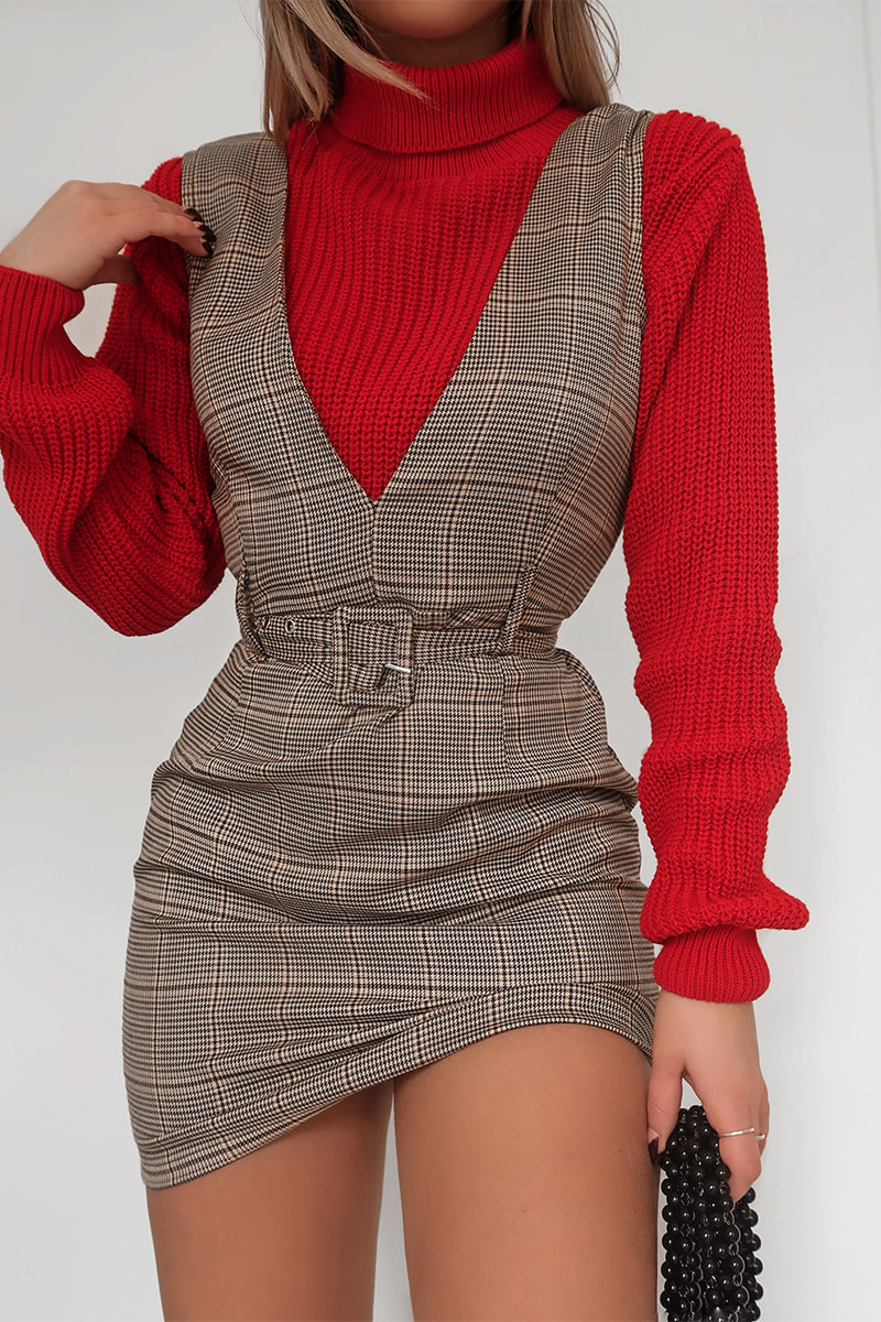 FASHION INFLUX BROWN HERITAGE CHECK BELTED MINI DRESS