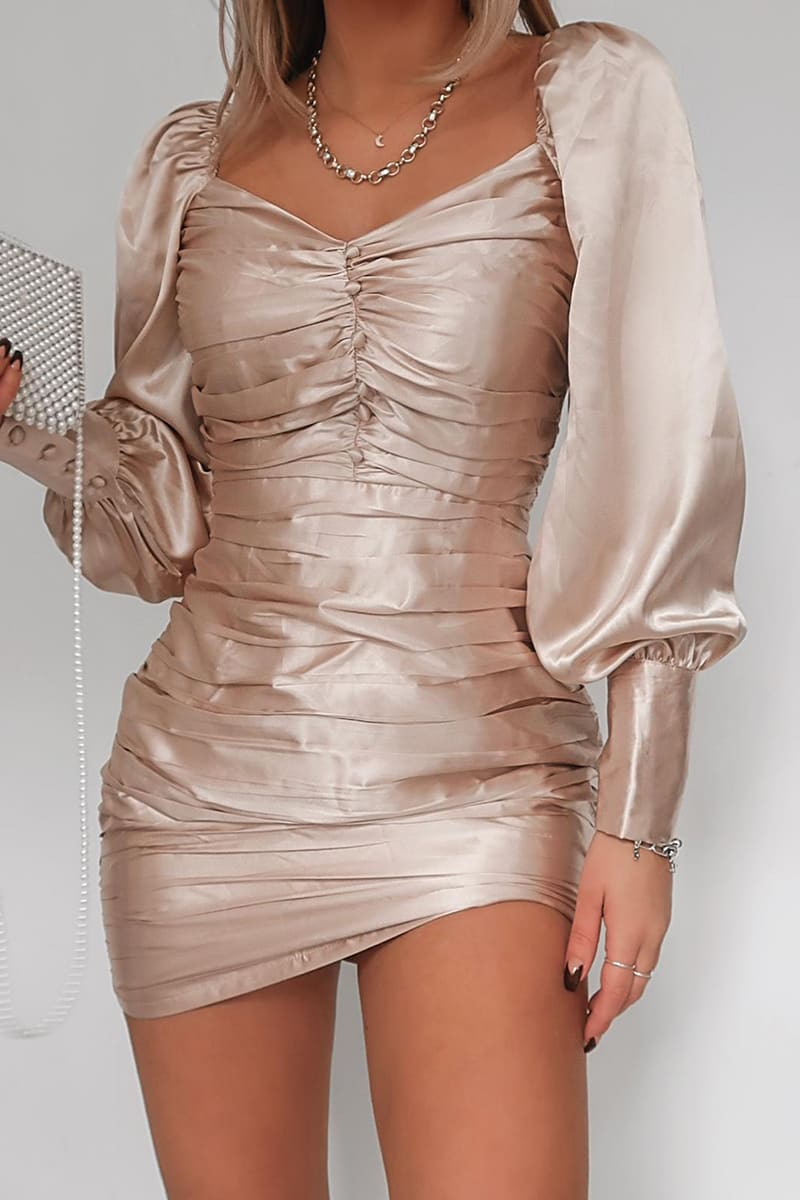 FASHION INFLUX NUDE SATIN SWEET HEART RUCHED MINI DRESS
