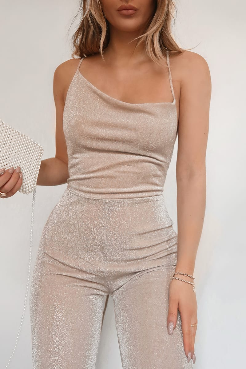 FASHION INFLUX NUDE LUREX ASYMMETRIC FLARE LEG JUMPSUIT