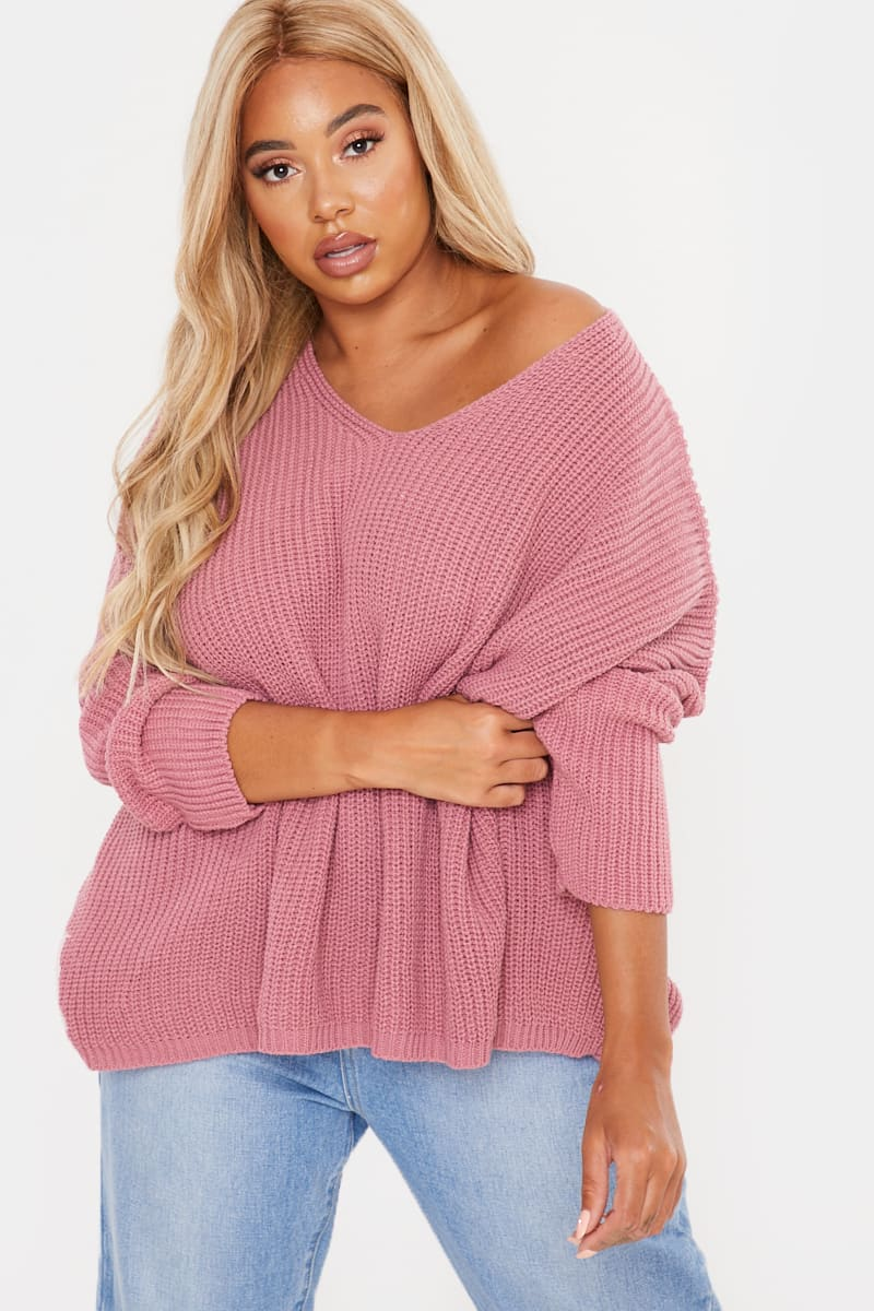 CURVE FASHION INFLUX PINK SLOUCHY JUMPER