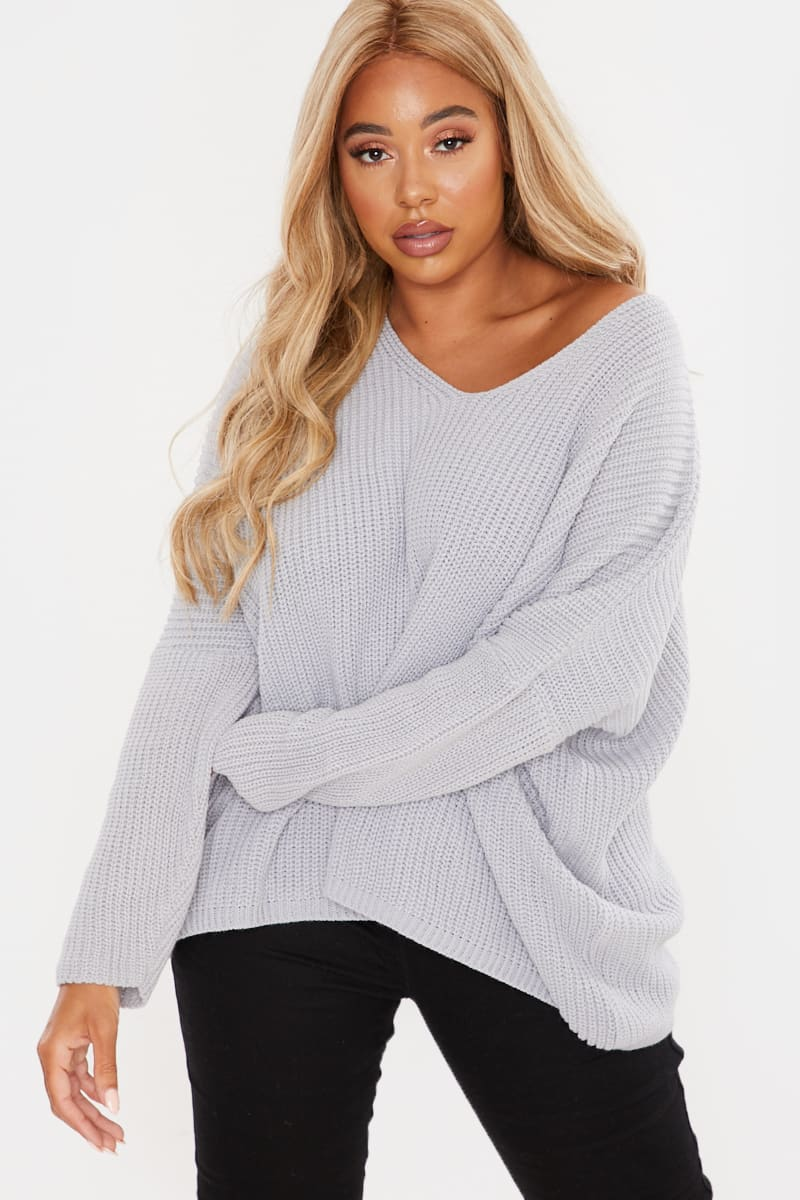 CURVE FASHION INFLUX GREY SLOUCHY JUMPER