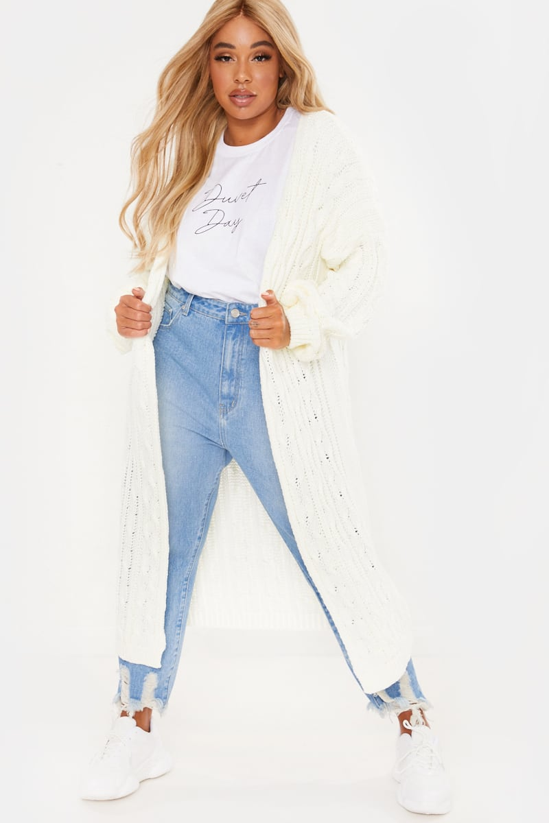 CURVE FASHION INFLUX WHITE CABLE KNIT MIDAXI CARDIGAN