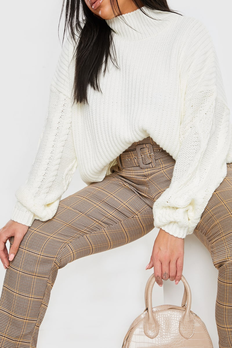 CURVE FASHION INFLUX CREAM CABLE SLEEVE OVERSIZED KNITTED JUMPER