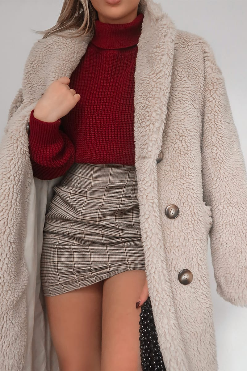 FASHION INFLUX CREAM OVERSIZED DOUBLE BREASTED TEDDY FUR COAT