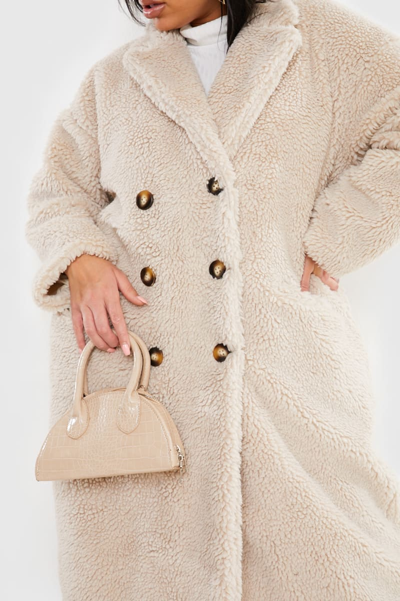 CURVE FASHION INFLUX CREAM OVERSIZED DOUBLE BREASTED TEDDY FUR COAT